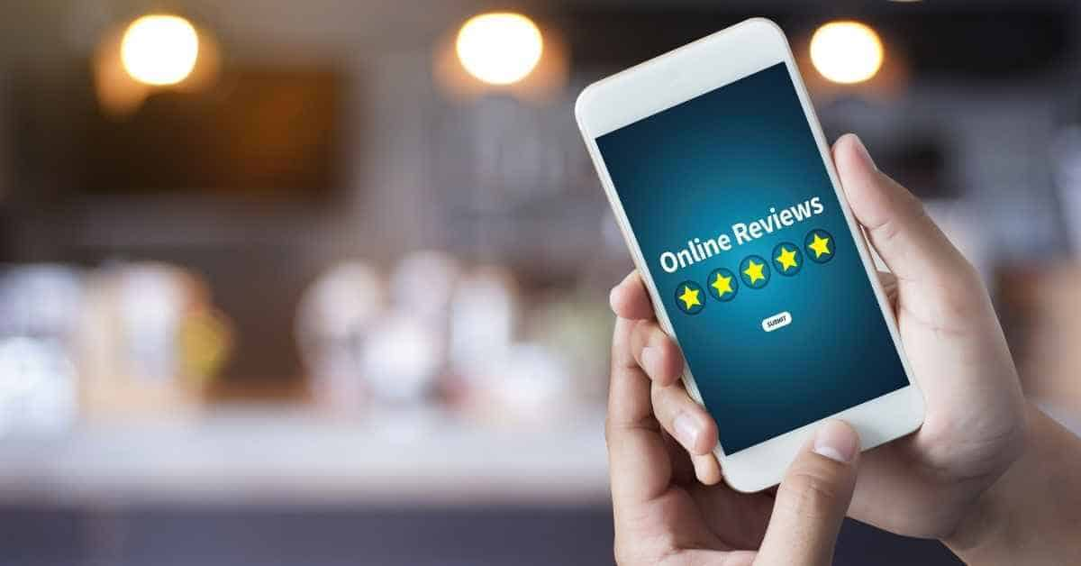 Person holding a phone with a 5 star online review